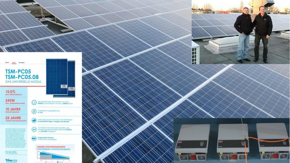Ansicht, Modul-Datenblatt und Wechselrichter der 2. PV-Anlage bei Allos